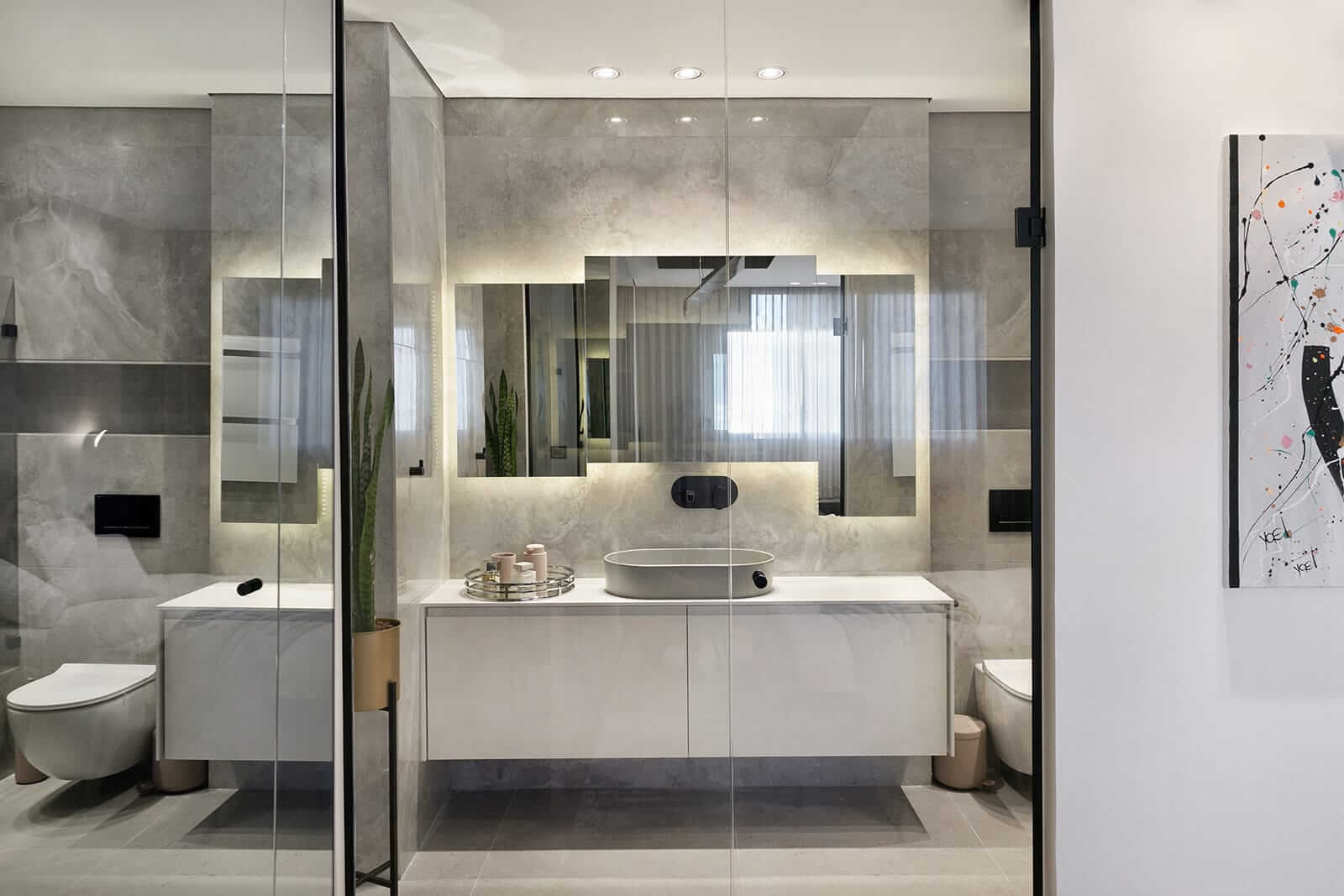 פרויקט תאורה מבית סיטי לייט חדר מקלחת