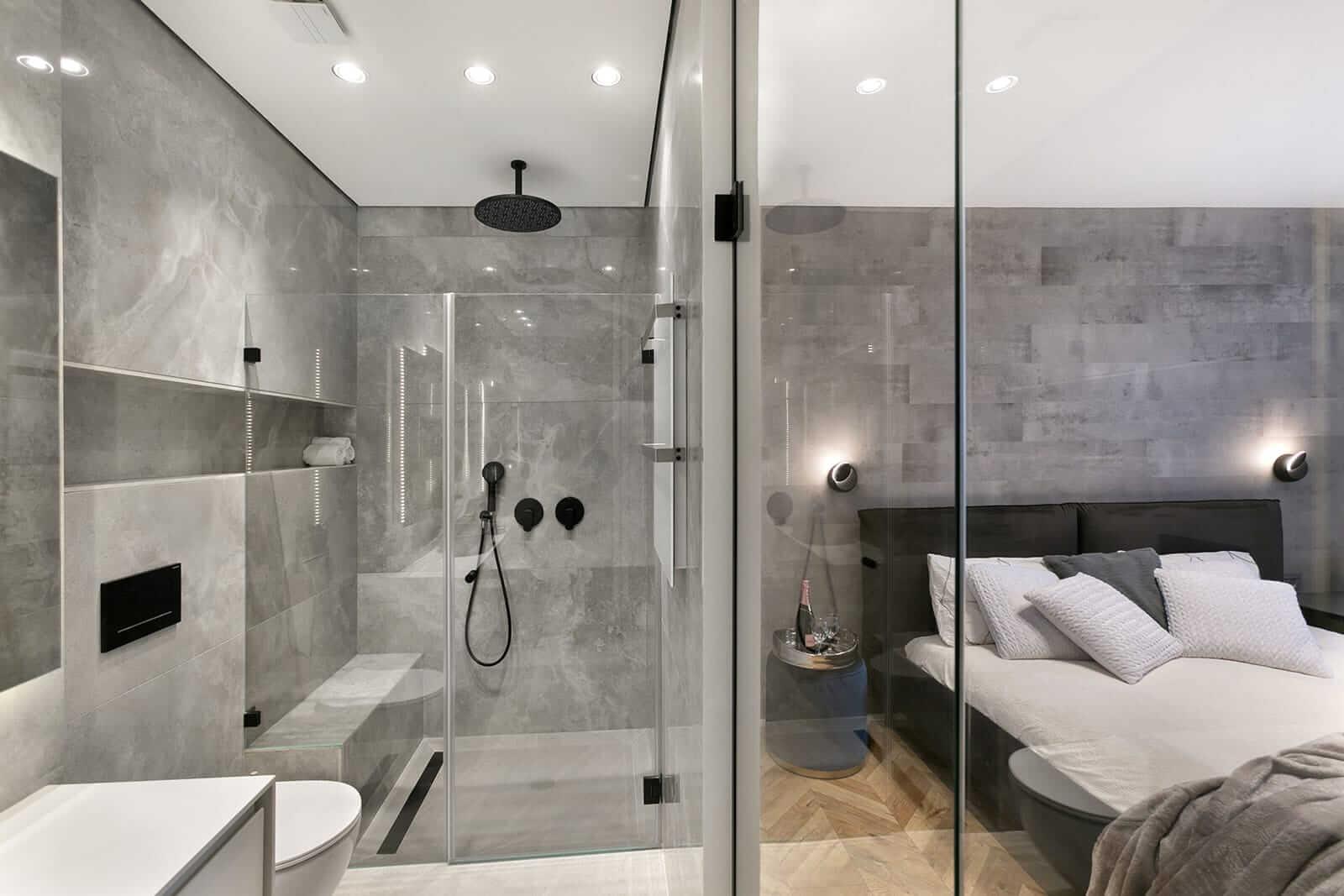 פרויקט תאורה מבית סיטי לייט חדר שינה ומקלחת
