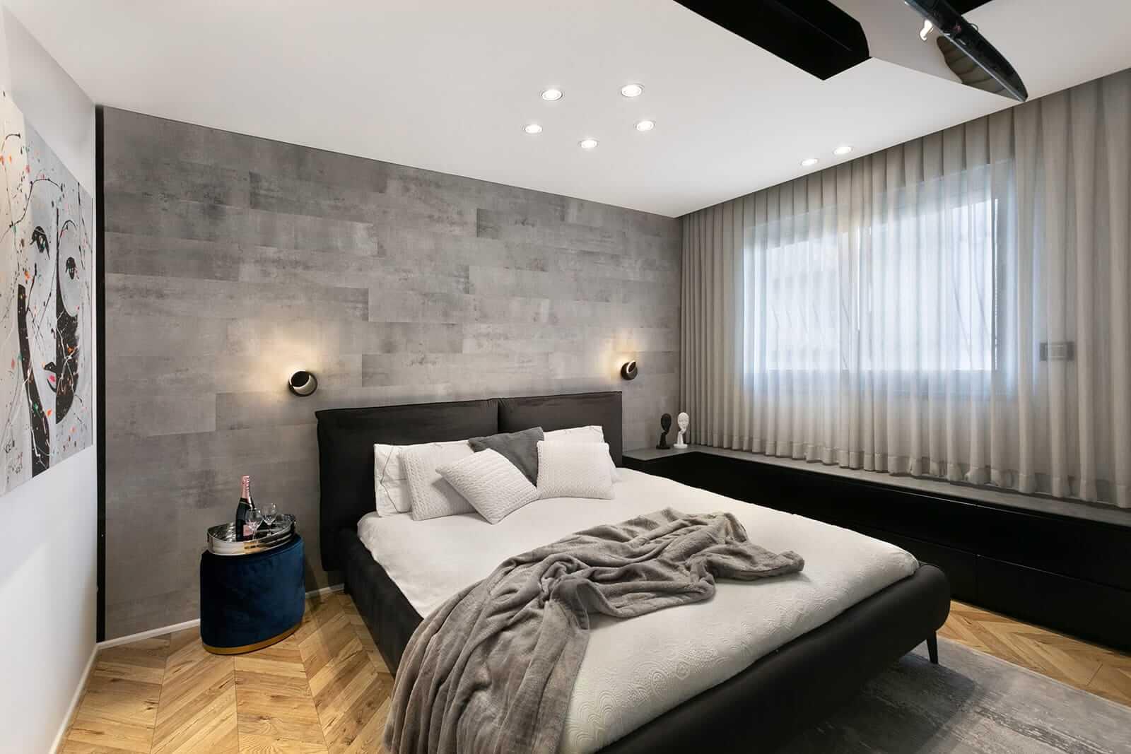 חדר שינה מעוצב בגופי תאורה מבית סיטי לייט
