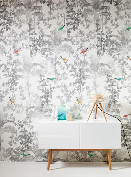 מדבקת קיר מודרנית לבנה עלים ועצים