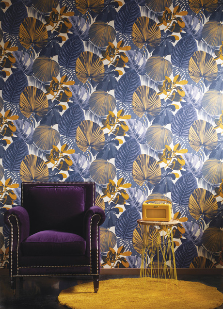 טפט מודרני עלים כחול צהוב