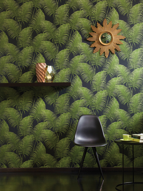 טפט מודרני עלים ירוקים על שחור