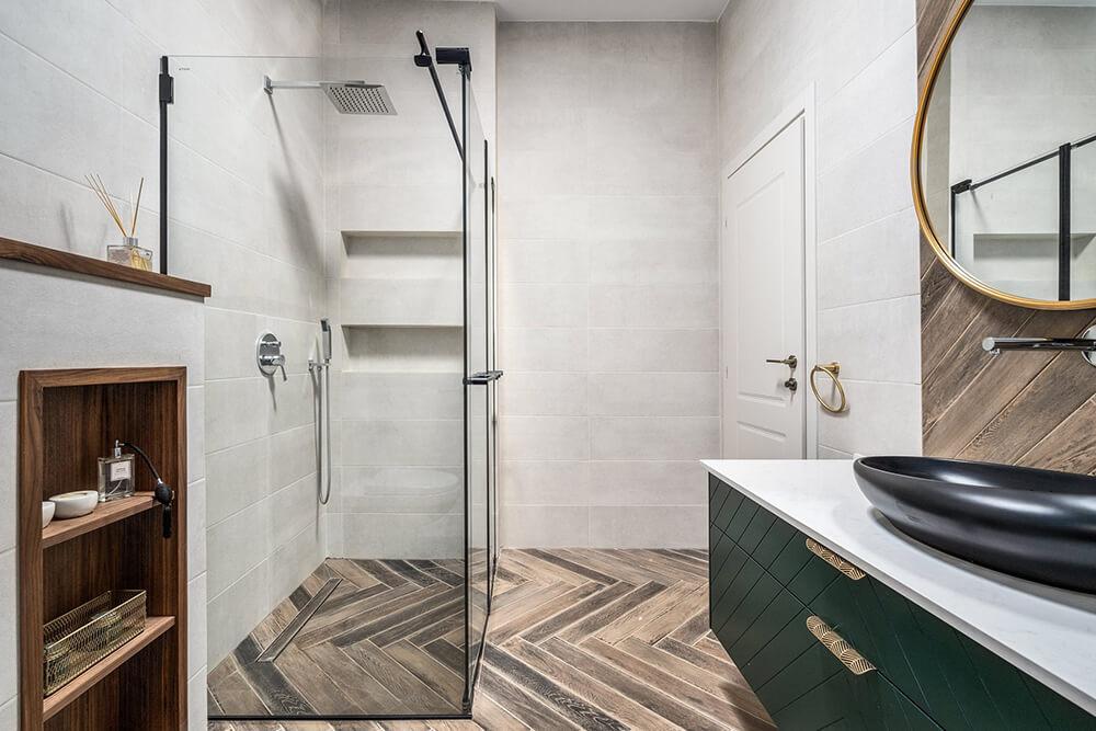 מקלחת מעוצבת ב פרויקט בית בקיבוץ