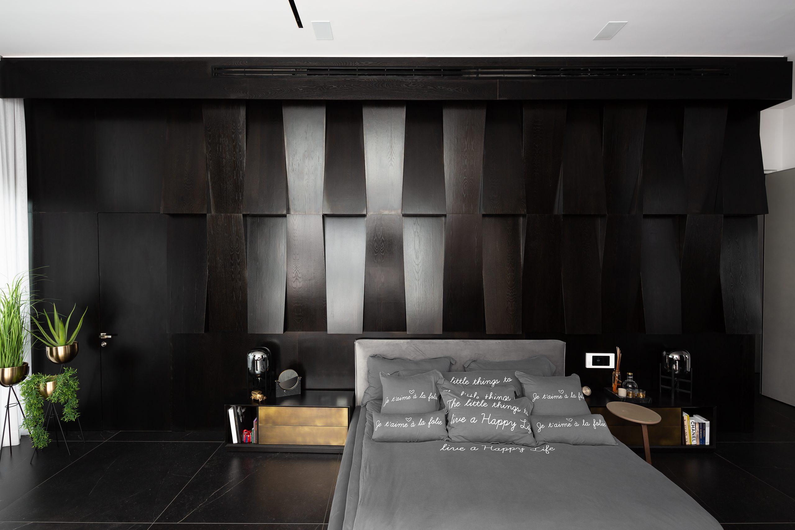 חדר שינה בעיצוב מודרני שחור אפור